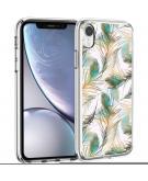 Design voor de iPhone Xr hoesje - Pauw - Groen / Goud