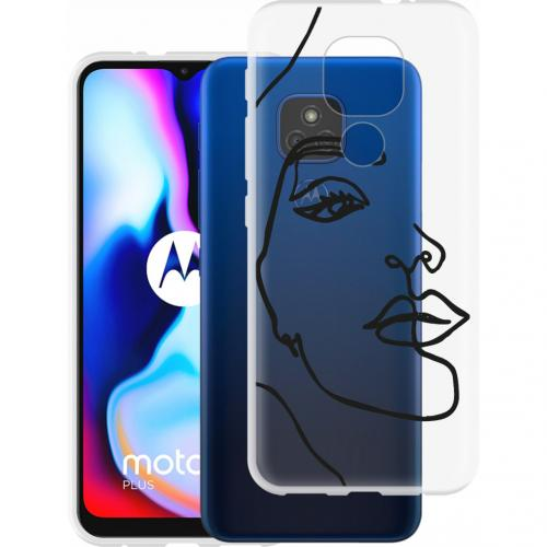 Design voor de Motorola Moto E7 Plus / G9 Play hoesje - Abstract Gezicht - Zwart