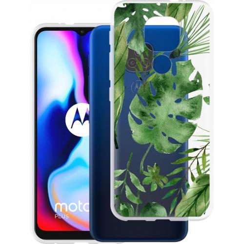 Design voor de Motorola Moto E7 Plus / G9 Play hoesje - Bladeren - Groen