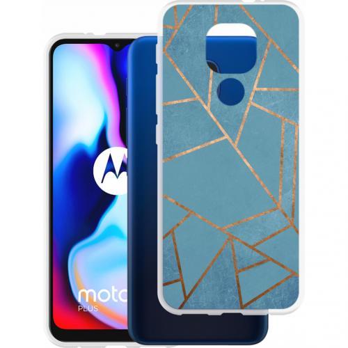 Design voor de Motorola Moto E7 Plus / G9 Play hoesje - Grafisch Koper - Blauw / Goud