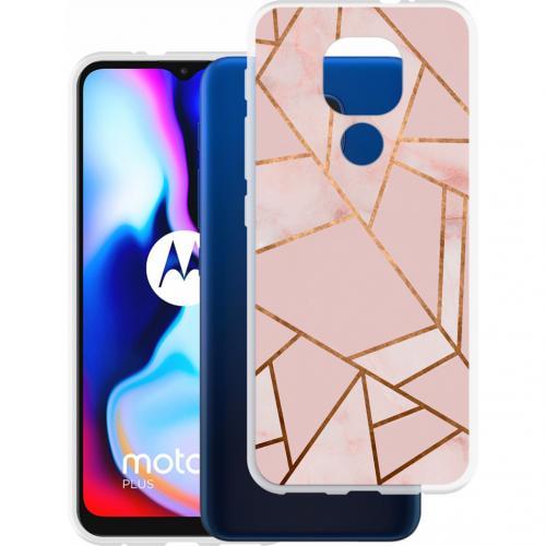Design voor de Motorola Moto E7 Plus / G9 Play hoesje - Grafisch Koper - Roze / Goud