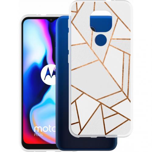 Design voor de Motorola Moto E7 Plus / G9 Play hoesje - Grafisch Koper - Wit / Goud