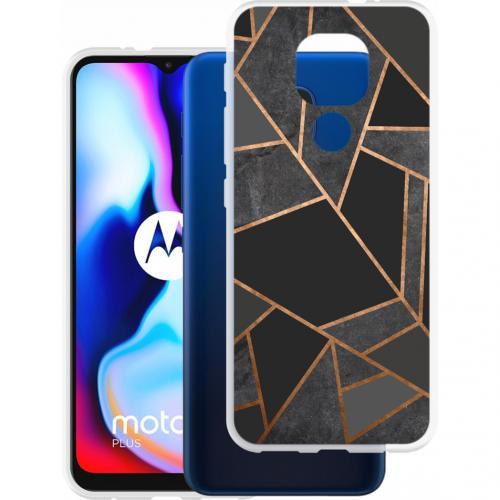 Design voor de Motorola Moto E7 Plus / G9 Play hoesje - Grafisch Koper - Zwart / Goud