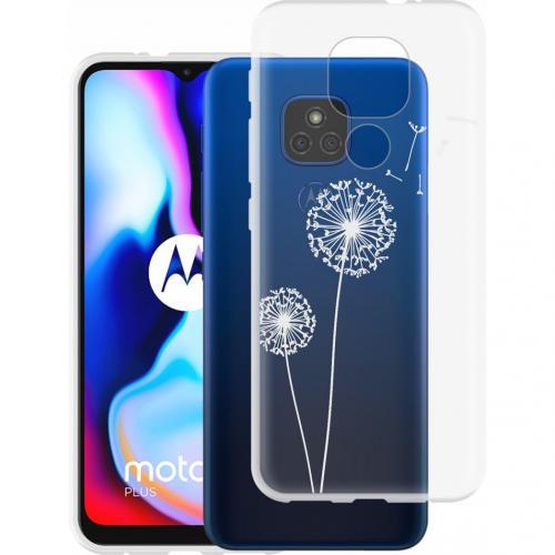 Design voor de Motorola Moto E7 Plus / G9 Play hoesje - Paardenbloem - Wit