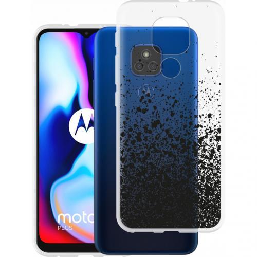 Design voor de Motorola Moto E7 Plus / G9 Play hoesje - Spetters - Zwart