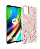Design voor de Motorola Moto G9 Plus hoesje - Grafisch Koper - Roze / Goud