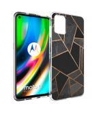 Design voor de Motorola Moto G9 Plus hoesje - Grafisch Koper - Zwart / Goud