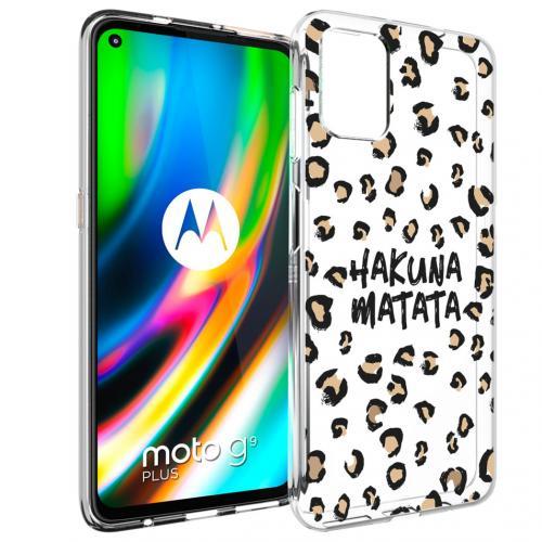 Design voor de Motorola Moto G9 Plus hoesje - Luipaard - Bruin / Zwart