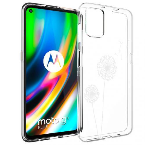 Design voor de Motorola Moto G9 Plus hoesje - Paardenbloem - Wit