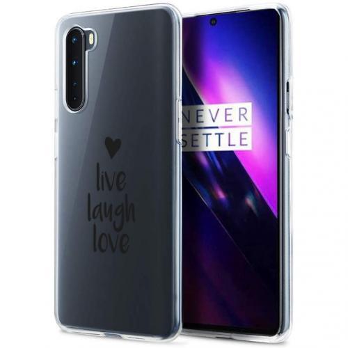 Design voor de OnePlus Nord hoesje - Live Laugh Love - Zwart