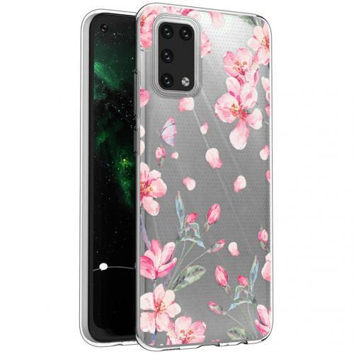 Design voor de Samsung Galaxy A02s hoesje - Bloem - Roze