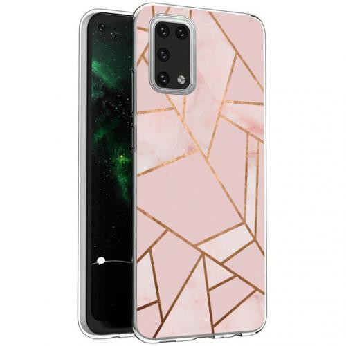 Design voor de Samsung Galaxy A02s hoesje - Grafisch Koper - Roze / Goud