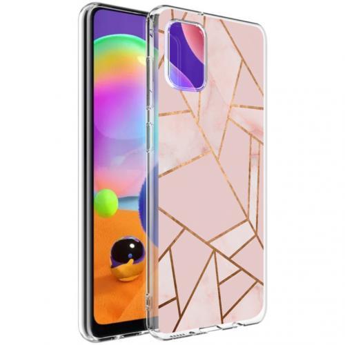Design voor de Samsung Galaxy A31 hoesje - Grafisch Koper - Roze / Goud