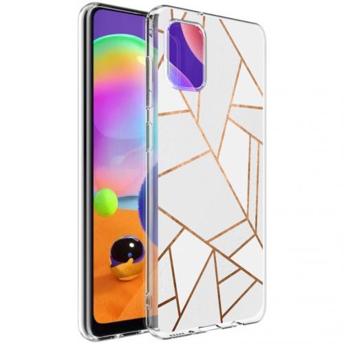 Design voor de Samsung Galaxy A31 hoesje - Grafisch Koper - Wit / Goud