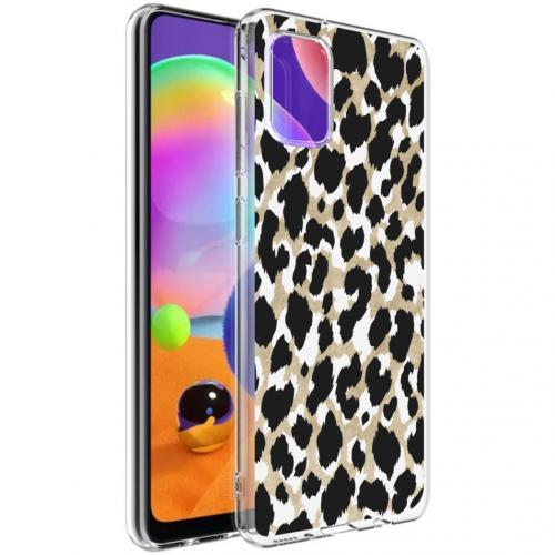 Design voor de Samsung Galaxy A31 hoesje - Luipaard - Goud / Zwart