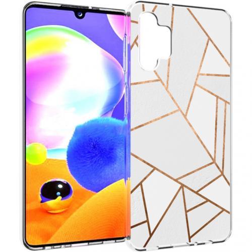 Design voor de Samsung Galaxy A32 (5G) hoesje - Grafisch Koper - Wit / Goud