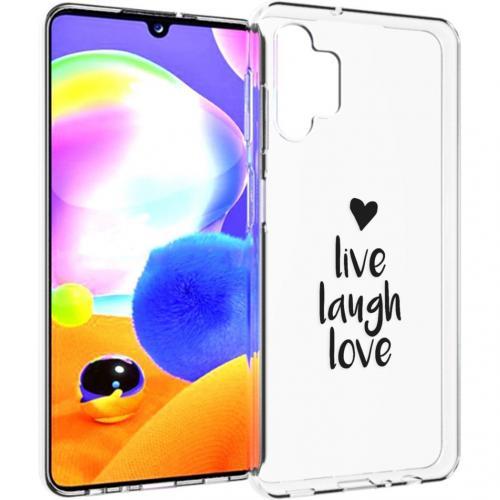 Design voor de Samsung Galaxy A32 (5G) hoesje - Live Laugh Love - Zwart