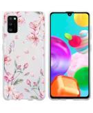 Design voor de Samsung Galaxy A41 hoesje - Bloem - Roze