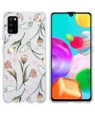 Design voor de Samsung Galaxy A41 hoesje - Bloem - Roze / Groen