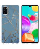 Design voor de Samsung Galaxy A41 hoesje - Grafisch Koper - Blauw / Goud