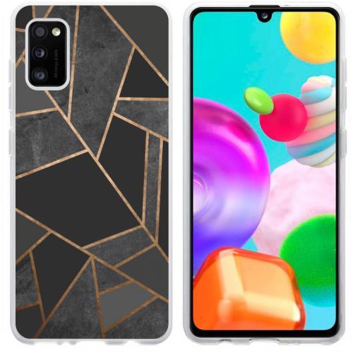 Design voor de Samsung Galaxy A41 hoesje - Grafisch Koper - Zwart / Goud