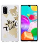 Design voor de Samsung Galaxy A41 hoesje - Let's Go Travel - Zwart / Goud