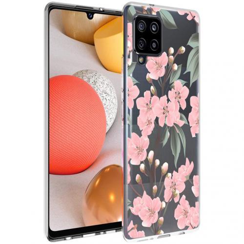 Design voor de Samsung Galaxy A42 hoesje - Bloem - Roze / Groen