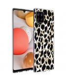 Design voor de Samsung Galaxy A42 hoesje - Luipaard - Goud / Zwart