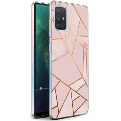 Design voor de Samsung Galaxy A71 hoesje - Grafisch Koper - Roze / Goud