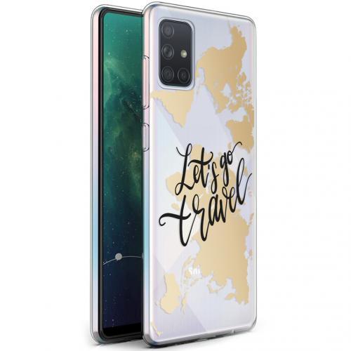 Design voor de Samsung Galaxy A71 hoesje - Let's Go Travel - Zwart / Goud
