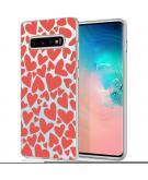 Design voor de Samsung Galaxy S10 hoesje - Hartjes - Rood