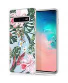Design voor de Samsung Galaxy S10 hoesje - Jungle - Groen / Roze