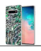 Design voor de Samsung Galaxy S10 hoesje - Jungle - Wit / Zwart Groen
