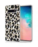 Design voor de Samsung Galaxy S10 hoesje - Luipaard - Goud / Zwart