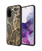 Design voor de Samsung Galaxy S20 hoesje - Bladeren - Goud / Zwart
