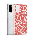 Design voor de Samsung Galaxy S20 hoesje - Hartjes - Rood