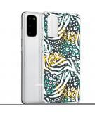 Design voor de Samsung Galaxy S20 hoesje - Jungle - Wit / Zwart / Groen