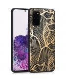 Design voor de Samsung Galaxy S20 Plus hoesje - Bladeren - Goud / Zwart