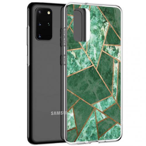 Design voor de Samsung Galaxy S20 Plus hoesje - Grafisch Koper - Groen / Goud
