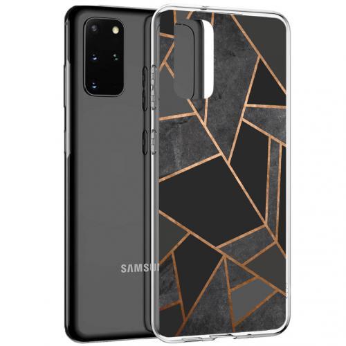 Design voor de Samsung Galaxy S20 Plus hoesje - Grafisch Koper - Zwart / Goud