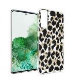 Design voor de Samsung Galaxy S21 Plus hoesje - Luipaard - Goud / Zwart