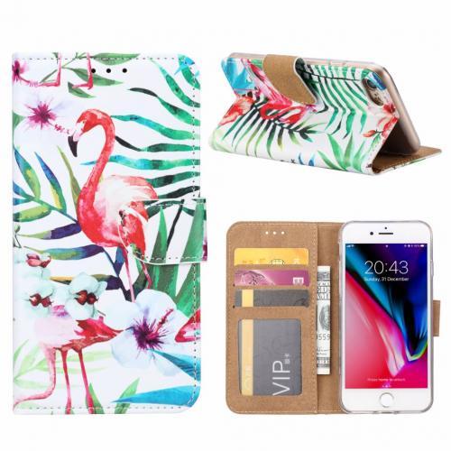 Flamingo print lederen Bookcase hoesje  Wit