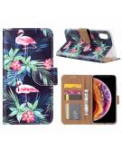 Flamingo print lederen Bookcase hoesje  Zwart