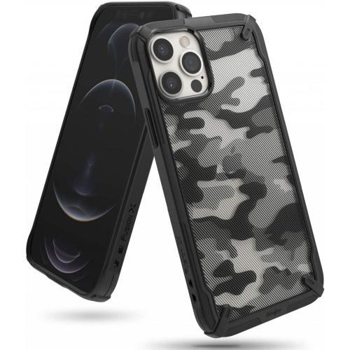 Fusion X Backcover voor iPhone 12 (Pro) - Camo Zwart
