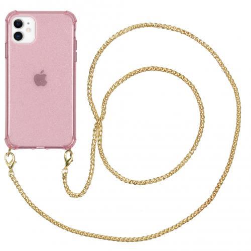 Glitter Backcover met ketting voor de iPhone 11 - Roze