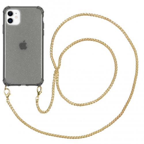 Glitter Backcover met ketting voor de iPhone 11 - Zwart