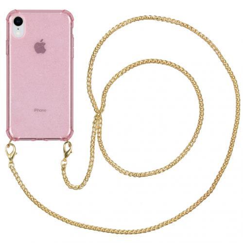 Glitter Backcover met ketting voor de iPhone Xr - Roze