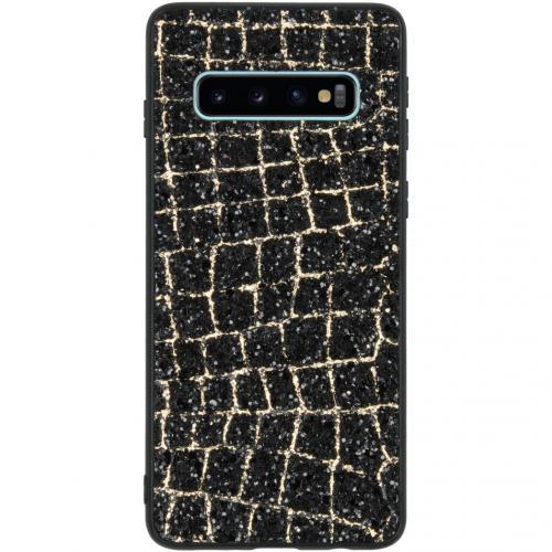 Glitter Snake Hardcase Backcover voor de Samsung Galaxy S10 - Goud