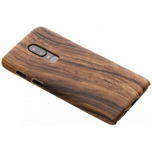 Hout Design Backcover voor OnePlus 6 - Donkerbruin
