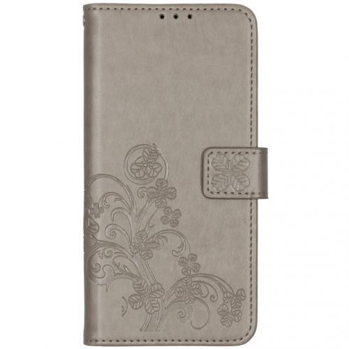 Klavertje Bloemen Booktype voor de OnePlus 7T - Grijs